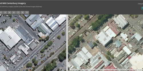Screenshot of the new & old imagery Storymap